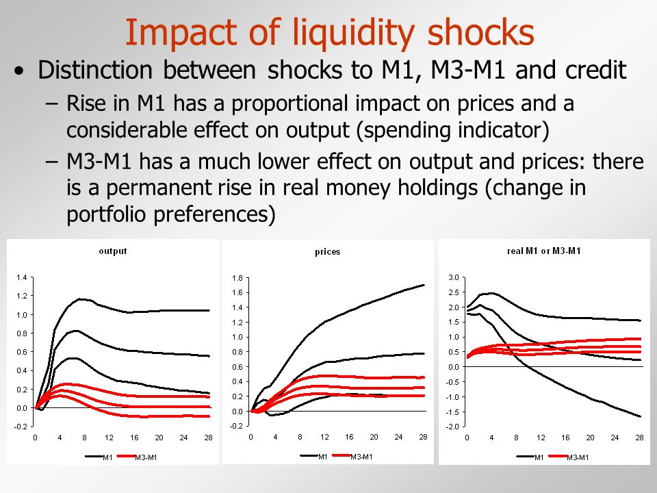 Impact of liquidity shocks Distinction between shocks to M1, M3-M1 and credit –Rise in M1 has a proportional impact on prices and a considerable effect on output (spending indicator) –M3-M1 has a much lower effect on output and prices: there is a permanent rise in real money holdings (change in portfolio preferences)