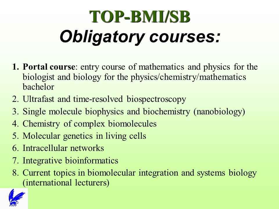 TOP-BMI/SB TOP-BMI/SB Obligatory courses: 1.Portal course: entry course of mathematics and physics for the biologist and biology for the physics/chemi