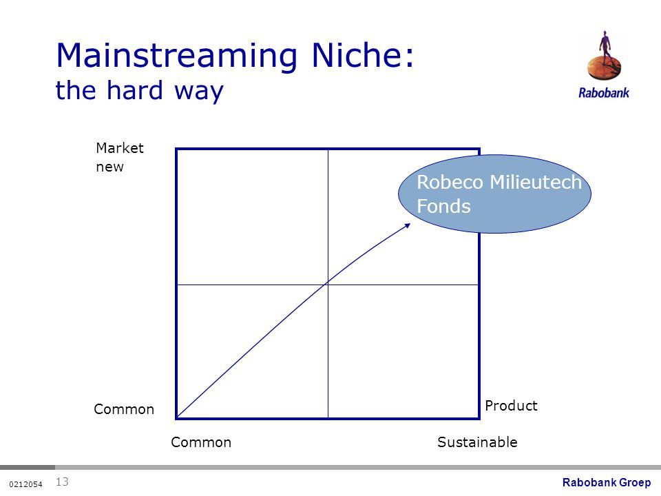 Rabobank Groep Mainstreaming Niche: the hard way Market new Common Sustainable Product Robeco Milieutech Fonds