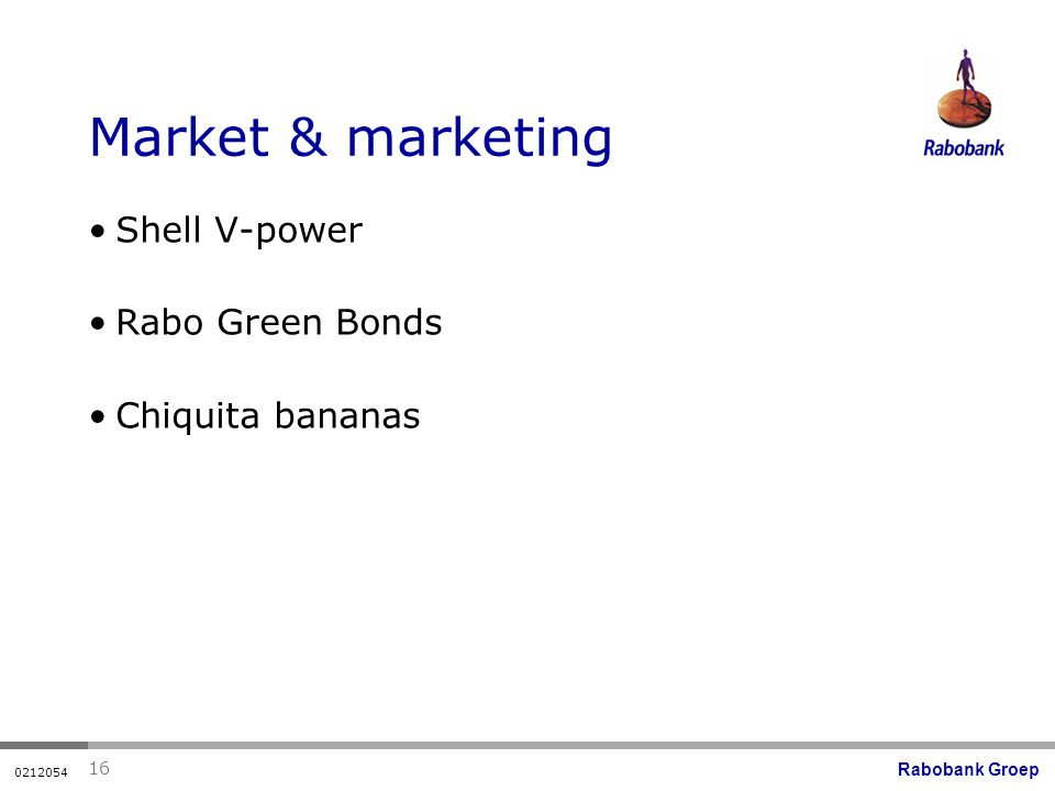 Rabobank Groep Market & marketing Shell V-power Rabo Green Bonds Chiquita bananas