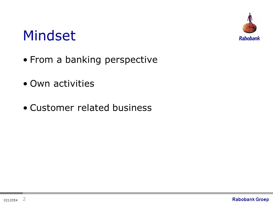 Rabobank Groep Mindset From a banking perspective Own activities Customer related business