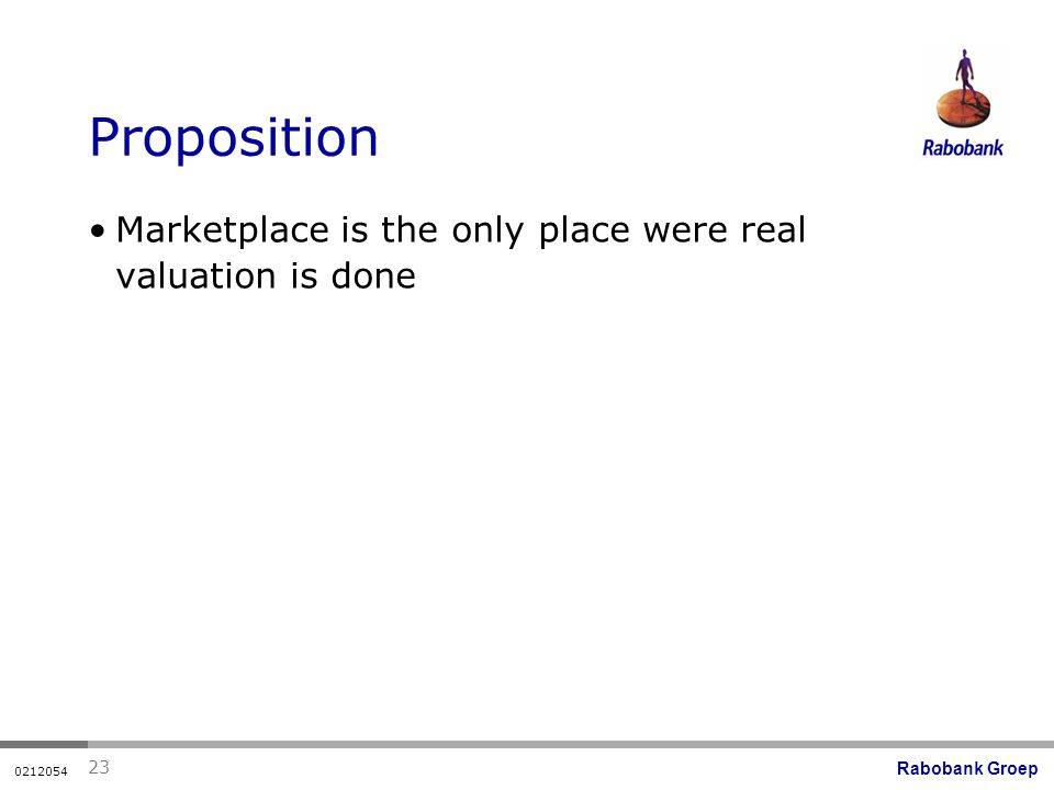 Rabobank Groep Proposition Marketplace is the only place were real valuation is done