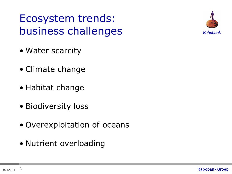Rabobank Groep Ecosystem trends: business challenges Water scarcity Climate change Habitat change Biodiversity loss Overexploitation of oceans Nutrient overloading