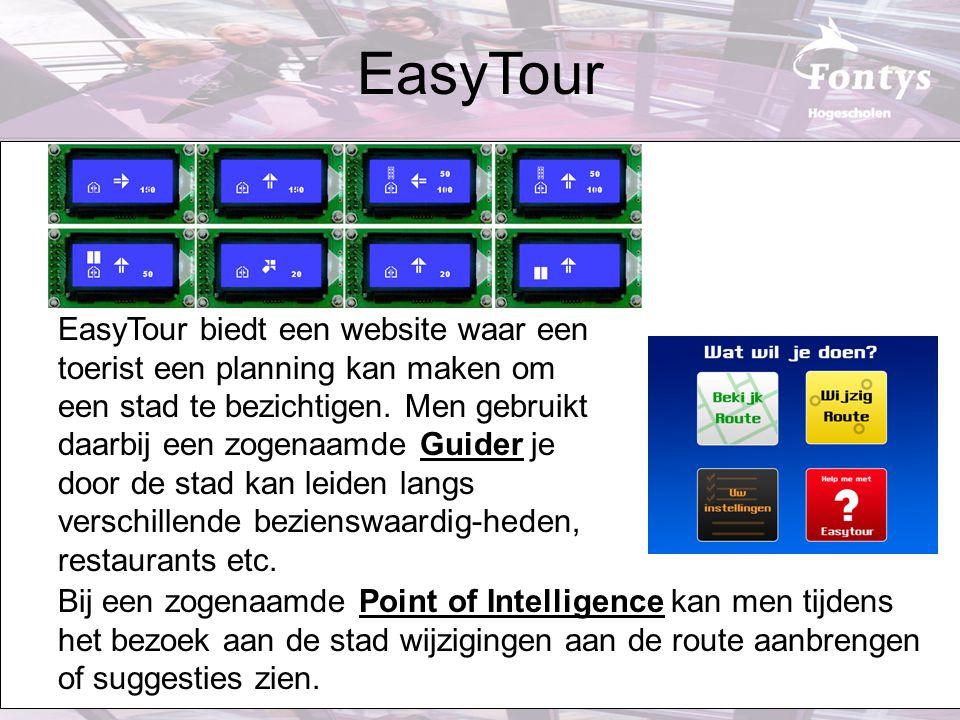 EasyTour biedt een website waar een toerist een planning kan maken om een stad te bezichtigen. Men gebruikt daarbij een zogenaamde Guider je door de s
