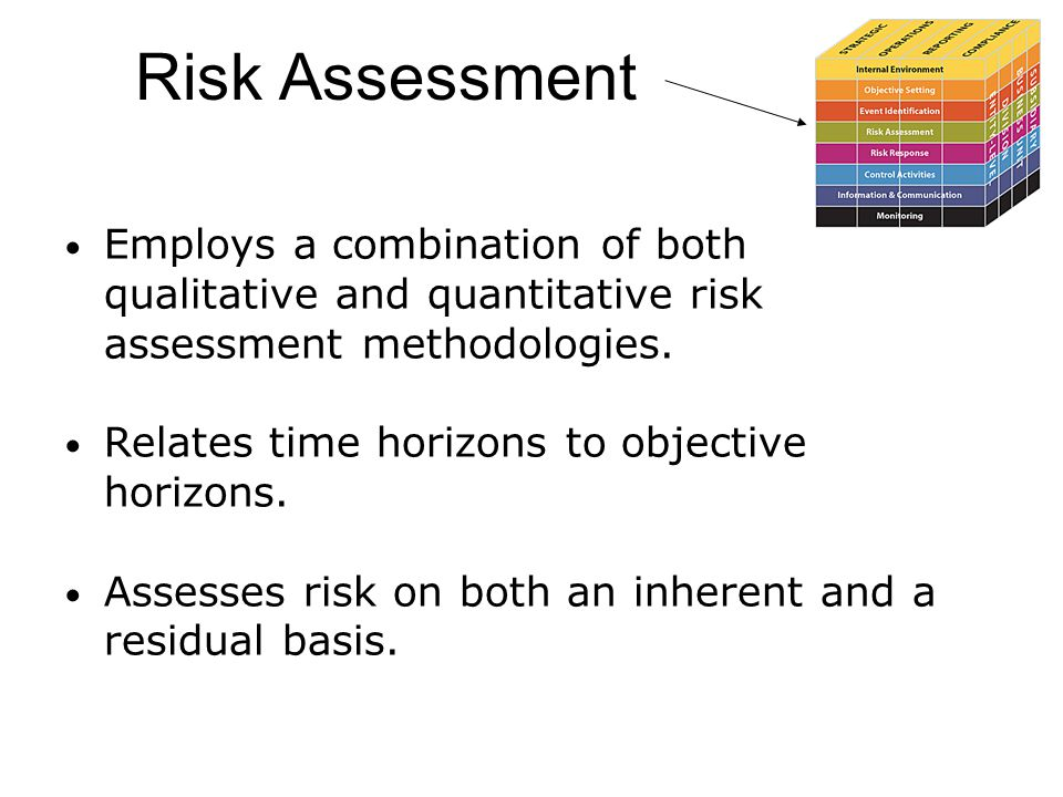 Risk Assessment Employs a combination of both qualitative and quantitative risk assessment methodologies. Relates time horizons to objective horizons.