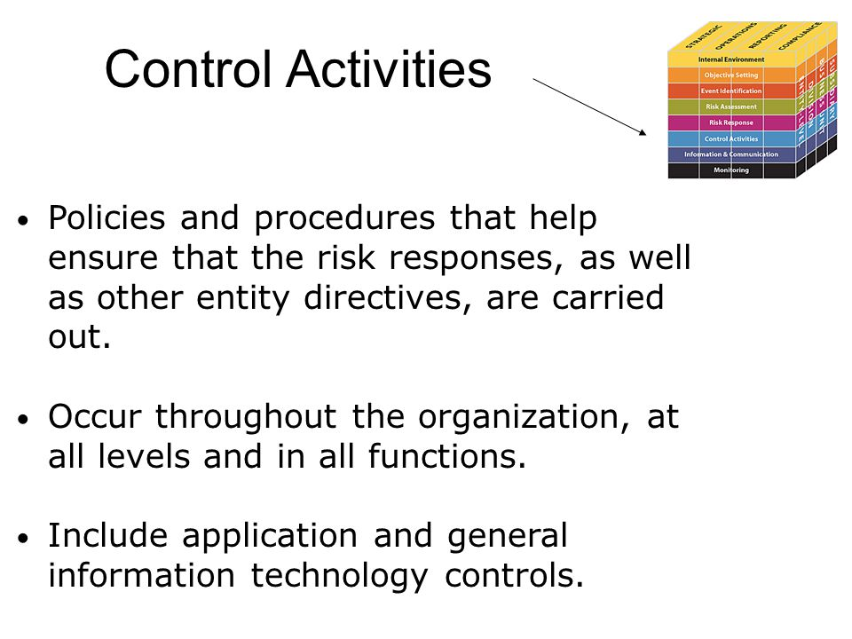 Control Activities Policies and procedures that help ensure that the risk responses, as well as other entity directives, are carried out. Occur throug