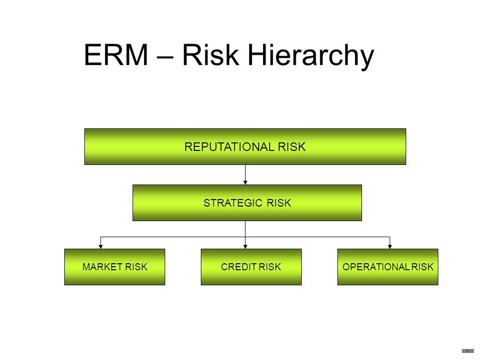 ERM – Risk Hierarchy REPUTATIONAL RISK STRATEGIC RISK MARKET RISKCREDIT RISKOPERATIONAL RISK