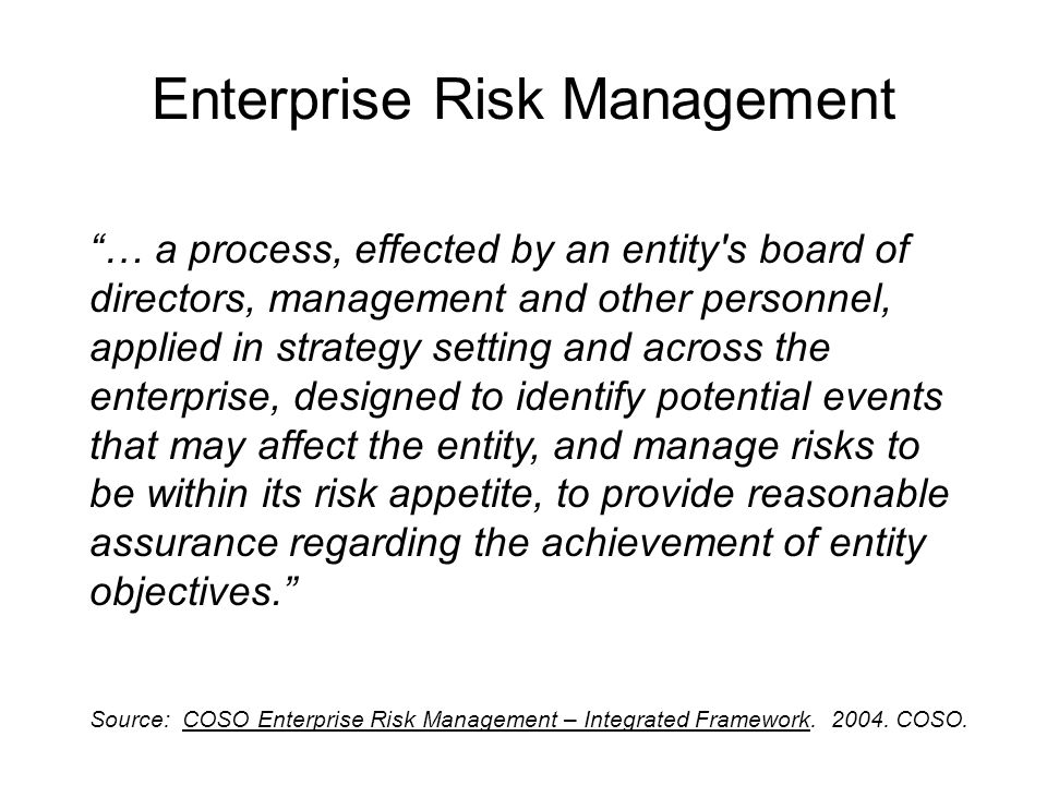 Risk Assessment Allows an entity to understand the extent to which potential events might impact objectives.