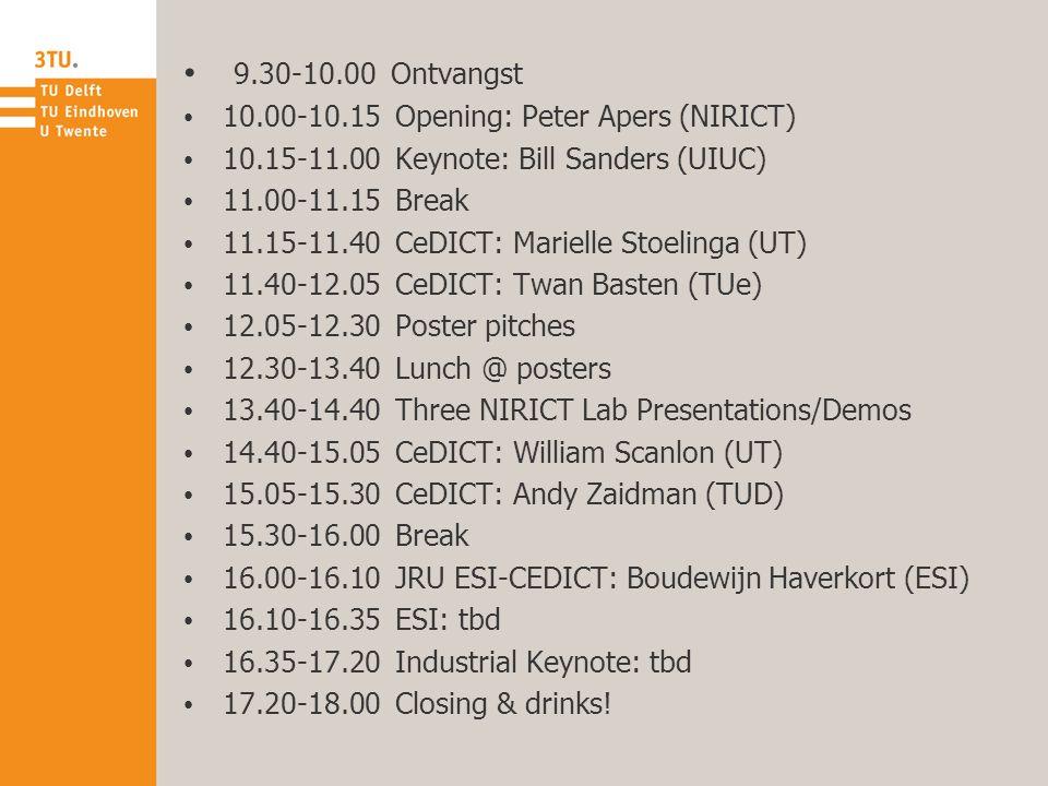 9.30-10.00 Ontvangst 10.00-10.15 Opening: Peter Apers (NIRICT) 10.15-11.00 Keynote: Bill Sanders (UIUC) 11.00-11.15 Break 11.15-11.40 CeDICT: Marielle