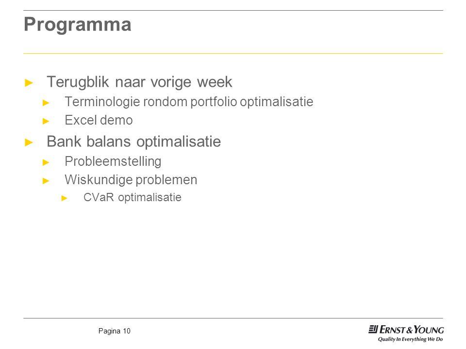 Pagina 10 Programma ► Terugblik naar vorige week ► Terminologie rondom portfolio optimalisatie ► Excel demo ► Bank balans optimalisatie ► Probleemstel