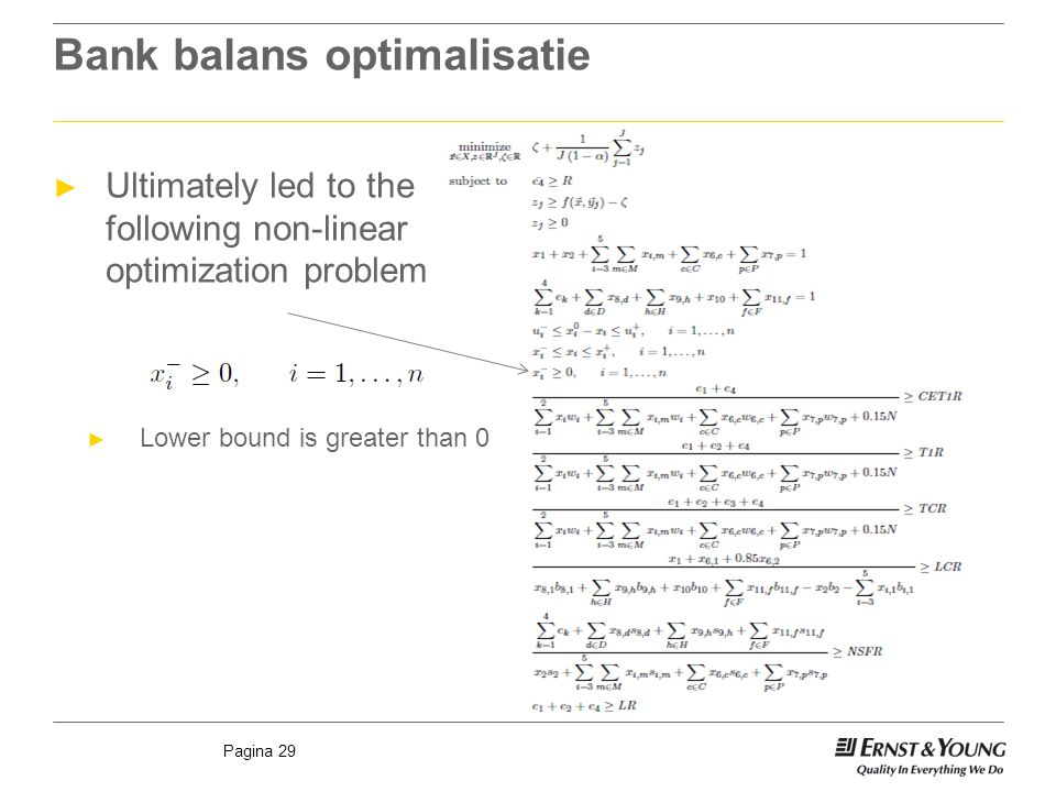 Pagina 29 Bank balans optimalisatie ► Ultimately led to the following non-linear optimization problem ► Lower bound is greater than 0