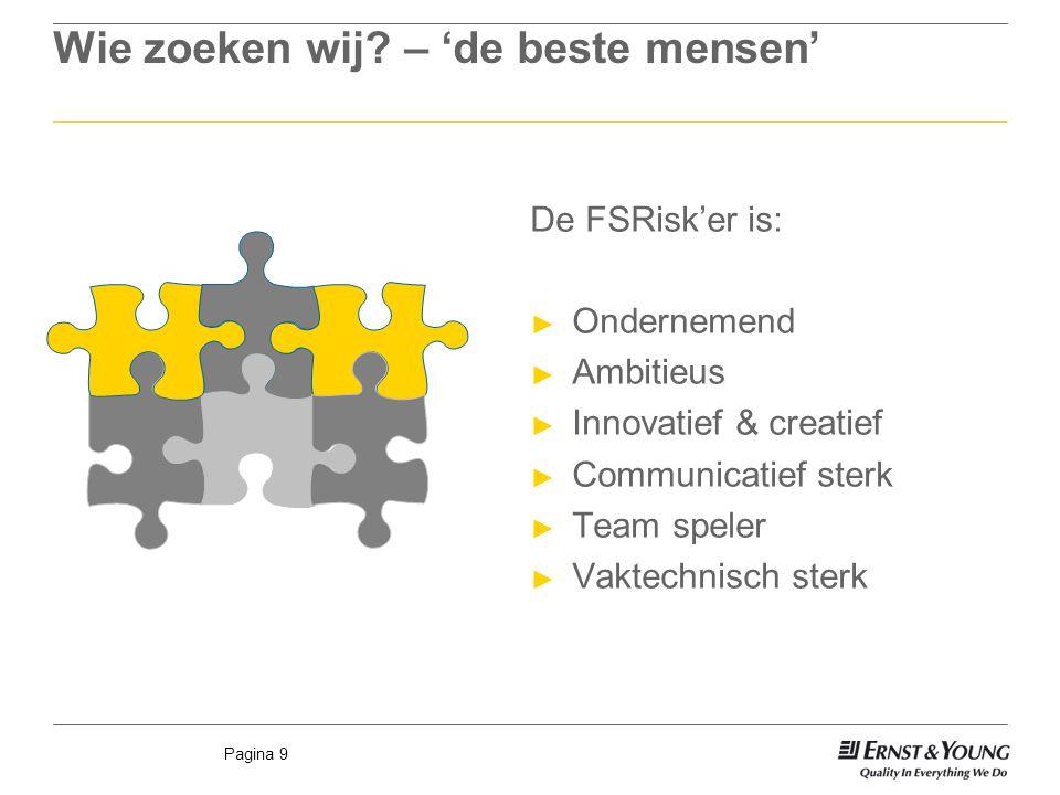 Pagina 9 Wie zoeken wij? – 'de beste mensen' De FSRisk'er is: ► Ondernemend ► Ambitieus ► Innovatief & creatief ► Communicatief sterk ► Team speler ►