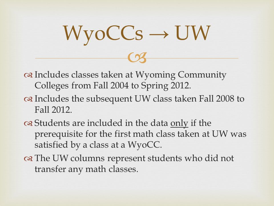   Includes classes taken at Wyoming Community Colleges from Fall 2004 to Spring 2012.  Includes the subsequent UW class taken Fall 2008 to Fall 201