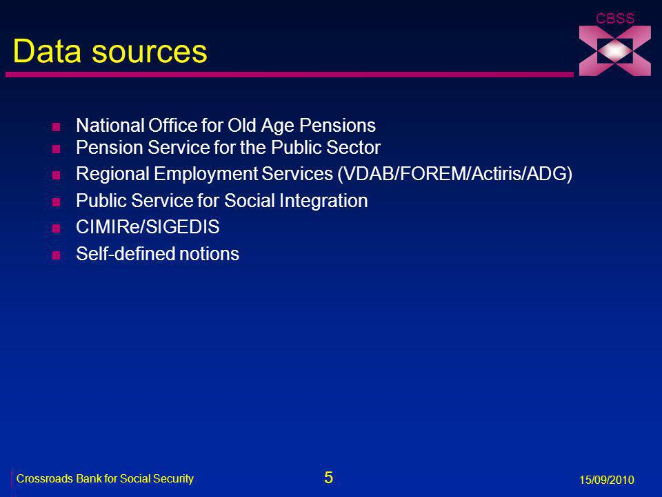 5 Crossroads Bank for Social Security 15/09/2010 CBSS Data sources n National Office for Old Age Pensions n Pension Service for the Public Sector n Regional Employment Services (VDAB/FOREM/Actiris/ADG) n Public Service for Social Integration n CIMIRe/SIGEDIS n Self-defined notions