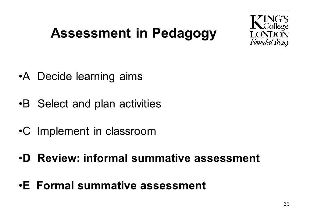 20 Assessment in Pedagogy A Decide learning aims B Select and plan activities C Implement in classroom D Review: informal summative assessment E Forma
