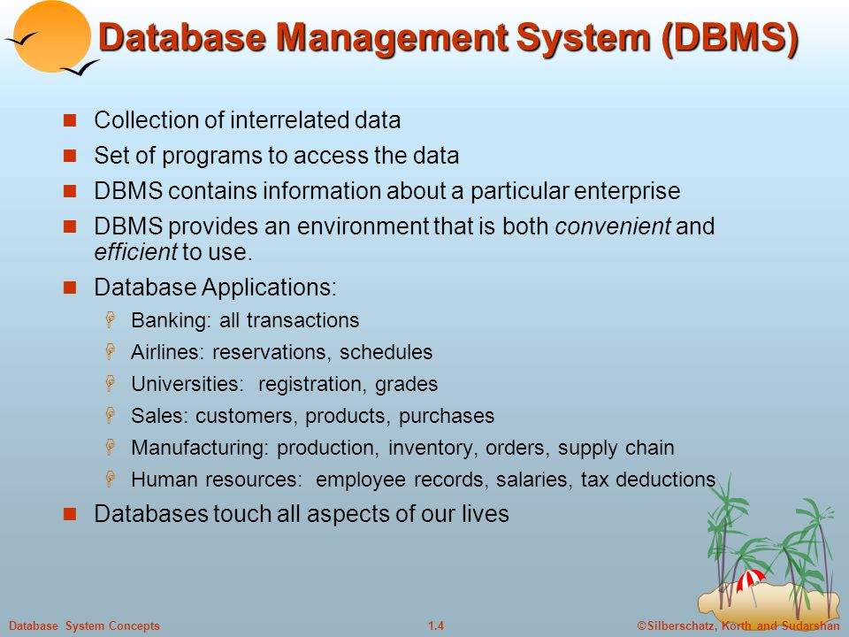 ©Silberschatz, Korth and Sudarshan1.5Database System Concepts Database Users Users are differentiated by the way they expect to interact with the system Application programmers – interact with system through DML calls Sophisticated users – form requests in a database query language Specialized users – write specialized database applications that do not fit into the traditional data processing framework Naïve users – invoke one of the permanent application programs that have been written previously  E.g.