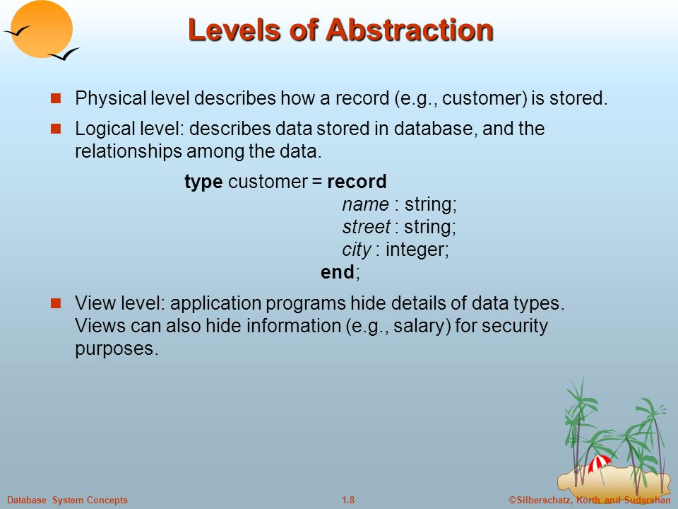 ©Silberschatz, Korth and Sudarshan1.9Database System Concepts Instances and Schemas Schema – the logical structure of the database  e.g., the database consists of information about a set of customers and accounts and the relationship between them)  Physical schema: database design at the physical level  Logical schema: database design at the logical level Instance – the actual content of the database at a particular point in time  Analogous to the value of a variable