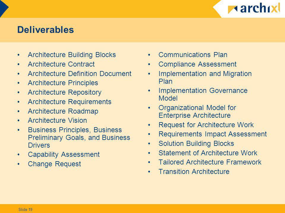Slide 19 Deliverables Architecture Building Blocks Architecture Contract Architecture Definition Document Architecture Principles Architecture Reposit