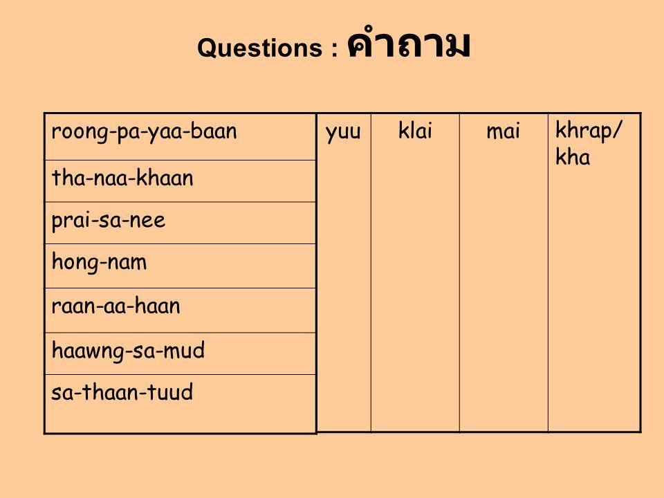 roong-pa-yaa-baan tha-naa-khaan prai-sa-nee hong-nam raan-aa-haan haawng-sa-mud sa-thaan-tuud yuuklaimaikhrap/ kha Questions : คำถาม