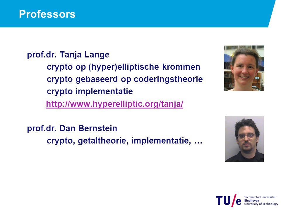 Professors prof.dr. Tanja Lange crypto op (hyper)elliptische krommen crypto gebaseerd op coderingstheorie crypto implementatie http://www.hyperellipti