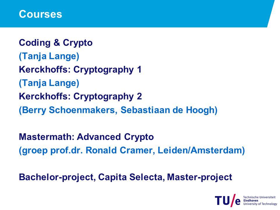 Courses Coding & Crypto (Tanja Lange) Kerckhoffs: Cryptography 1 (Tanja Lange) Kerckhoffs: Cryptography 2 (Berry Schoenmakers, Sebastiaan de Hoogh) Ma