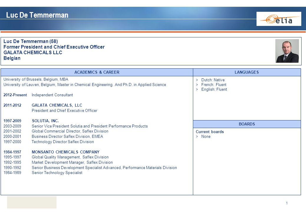 Luc De Temmerman Luc De Temmerman (58) Former President and Chief Executive Officer GALATA CHEMICALS LLC Belgian 1 Current boards >None BOARDS Univers
