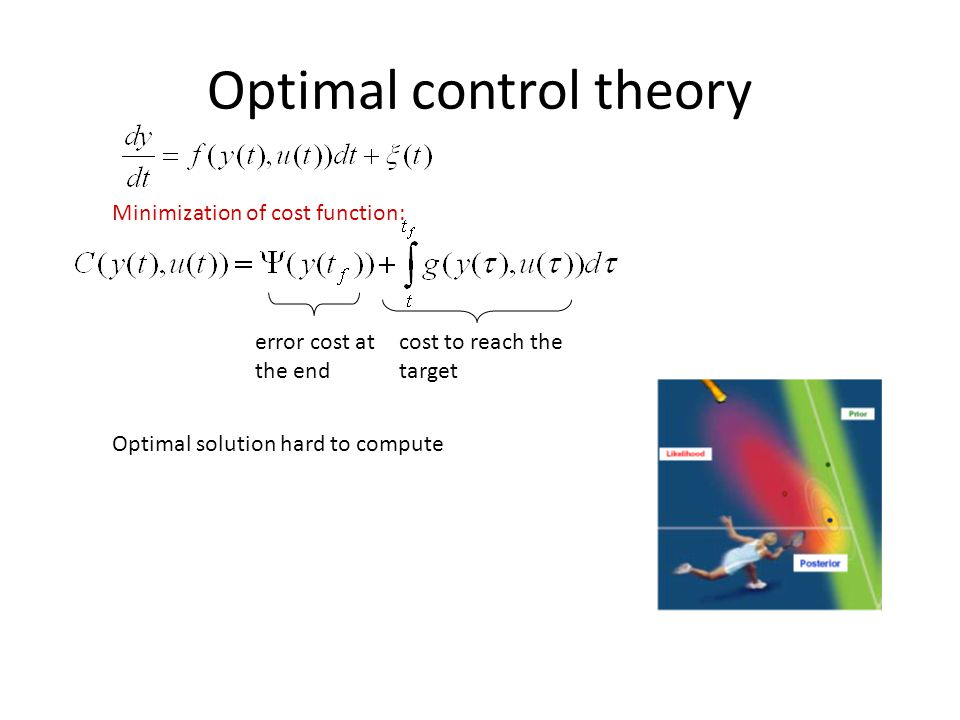 Optimal control theory Minimization of cost function: error cost at the end cost to reach the target Optimal solution hard to compute