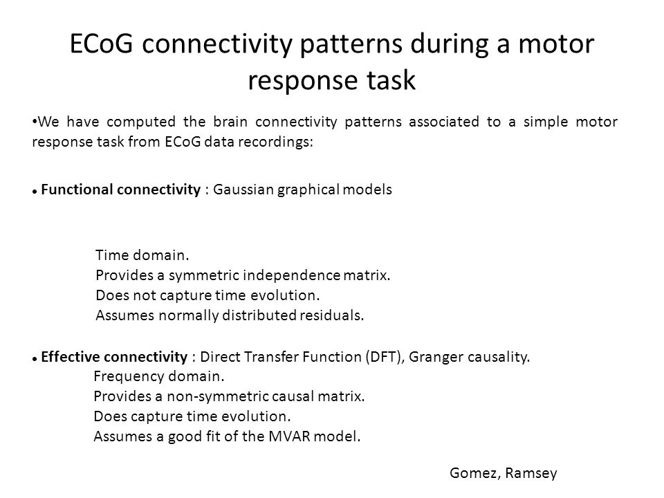 ECoG connectivity patterns during a motor response task We have computed the brain connectivity patterns associated to a simple motor response task fr