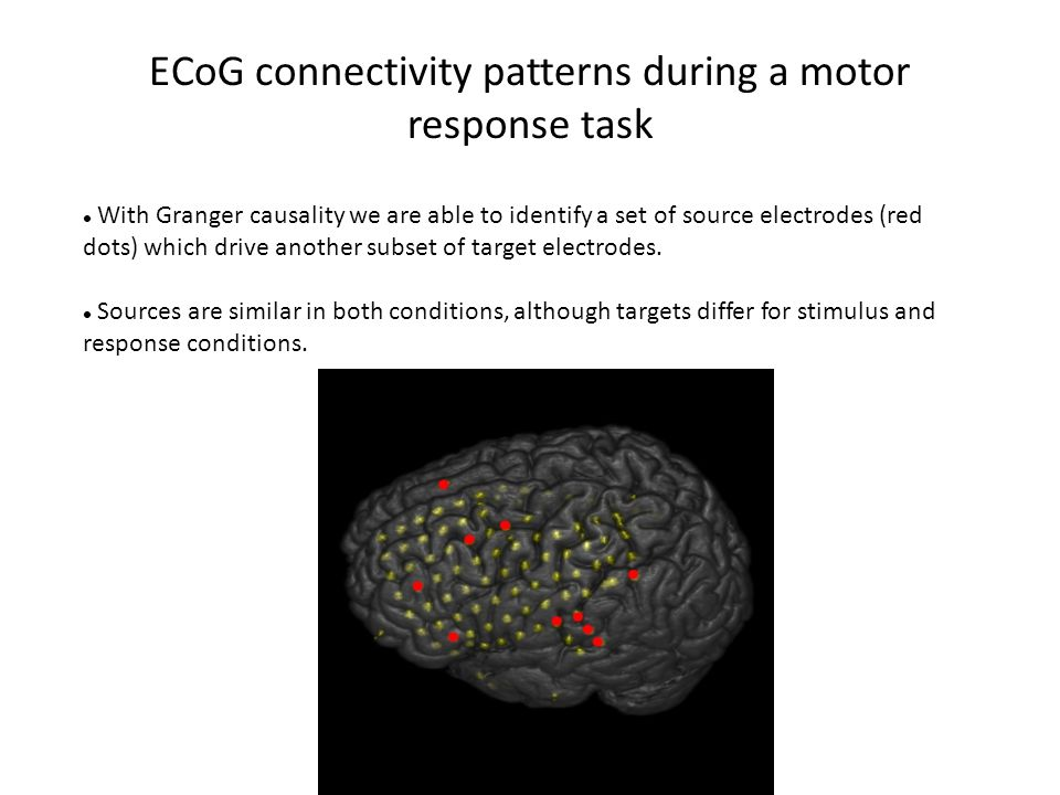 ECoG connectivity patterns during a motor response task With Granger causality we are able to identify a set of source electrodes (red dots) which dri