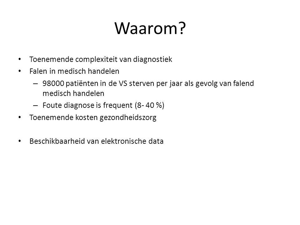 Input: patiëntgegevens, klachten, symptomen, labgegevens Output: Diagnoses, suggesties voor vervolgonderzoek Gebruikers: Huisartsen Opleiding Management Medisch specialisten
