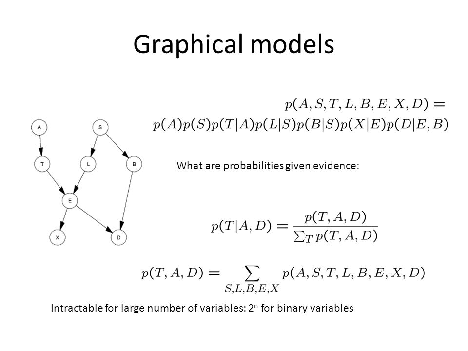 Graphical models What are probabilities given evidence: Intractable for large number of variables: 2 n for binary variables