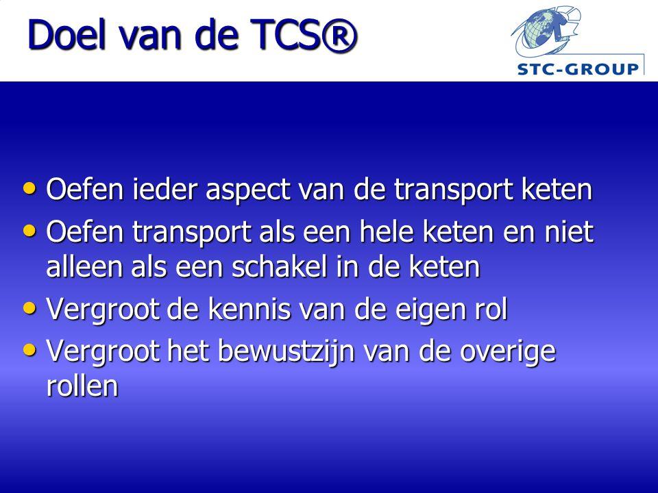 Doel van de TCS® Oefen ieder aspect van de transport keten Oefen ieder aspect van de transport keten Oefen transport als een hele keten en niet alleen als een schakel in de keten Oefen transport als een hele keten en niet alleen als een schakel in de keten Vergroot de kennis van de eigen rol Vergroot de kennis van de eigen rol Vergroot het bewustzijn van de overige rollen Vergroot het bewustzijn van de overige rollen