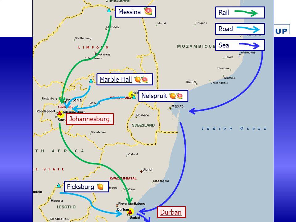 Marble Hall Messina Nelspruit Ficksburg Johannesburg Rail Road Durban Sea