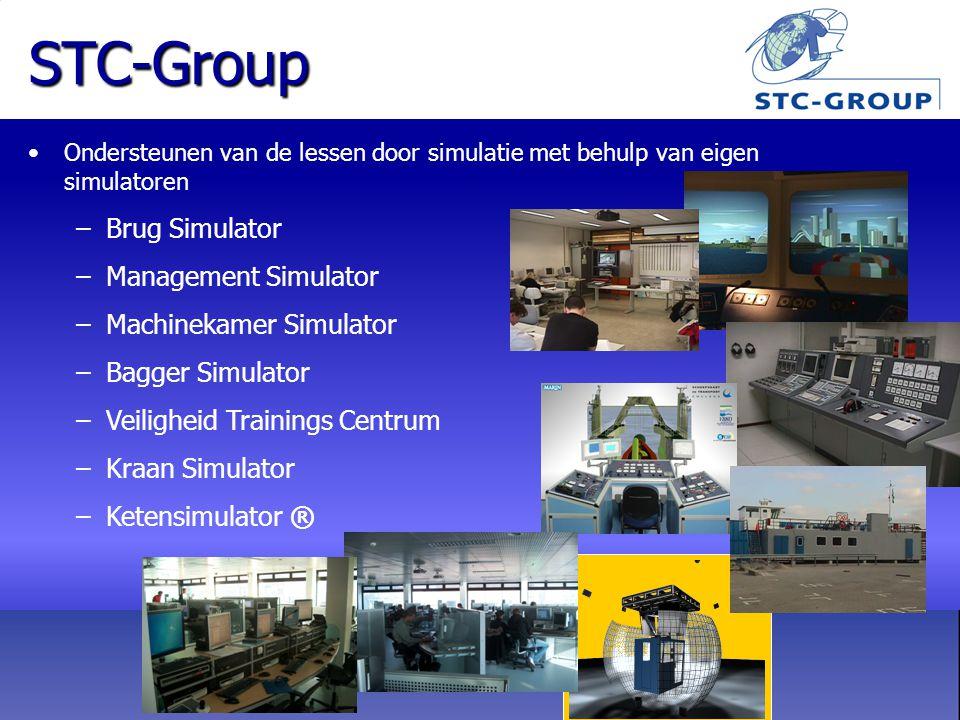STC-Group Ondersteunen van de lessen door simulatie met behulp van eigen simulatoren –Brug Simulator –Management Simulator –Machinekamer Simulator –Bagger Simulator –Veiligheid Trainings Centrum –Kraan Simulator –Ketensimulator ®