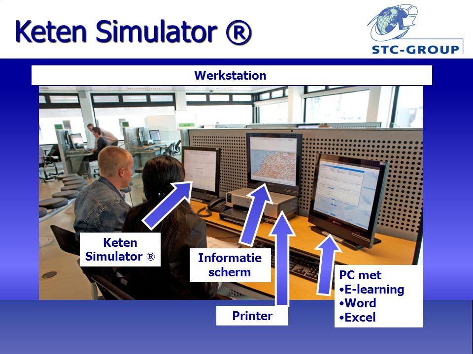 Werkstation Keten Simulator ® PC met E-learning Word Excel Informatie scherm Printer Keten Simulator ®