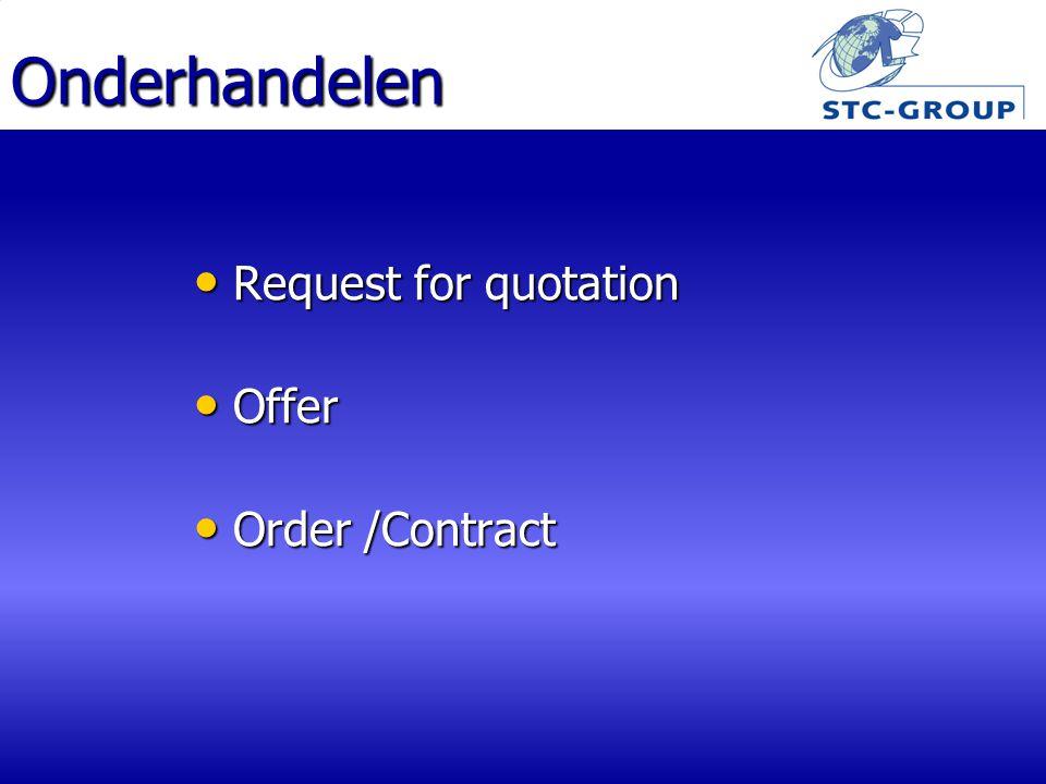 Onderhandelen Request for quotation Request for quotation Offer Offer Order /Contract Order /Contract