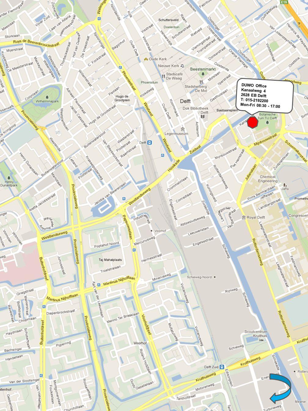 DUWO Office Kanaalweg 4 2628 EB Delft T: 015-2192200 Mon-Fri 08:30 - 17:00