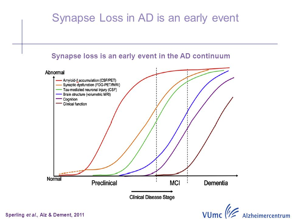 Synapse Loss in AD is an early event Synapse loss is an early event in the AD continuum Sperling et al., Alz & Dement, 2011