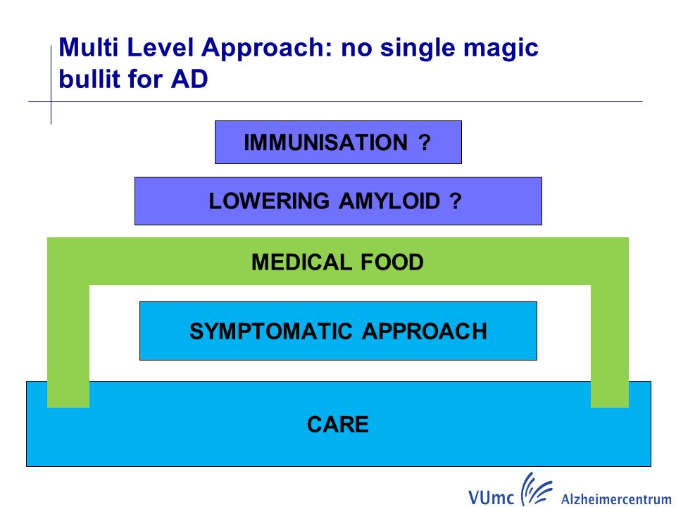 CARE SYMPTOMATIC APPROACH LOWERING AMYLOID ? IMMUNISATION ? MEDICAL FOOD Multi Level Approach: no single magic bullit for AD