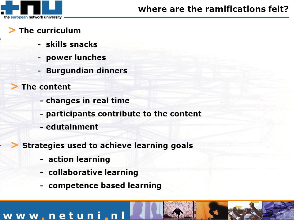 w w w n e t u n i n l > The curriculum - skills snacks - power lunches - Burgundian dinners where are the ramifications felt.