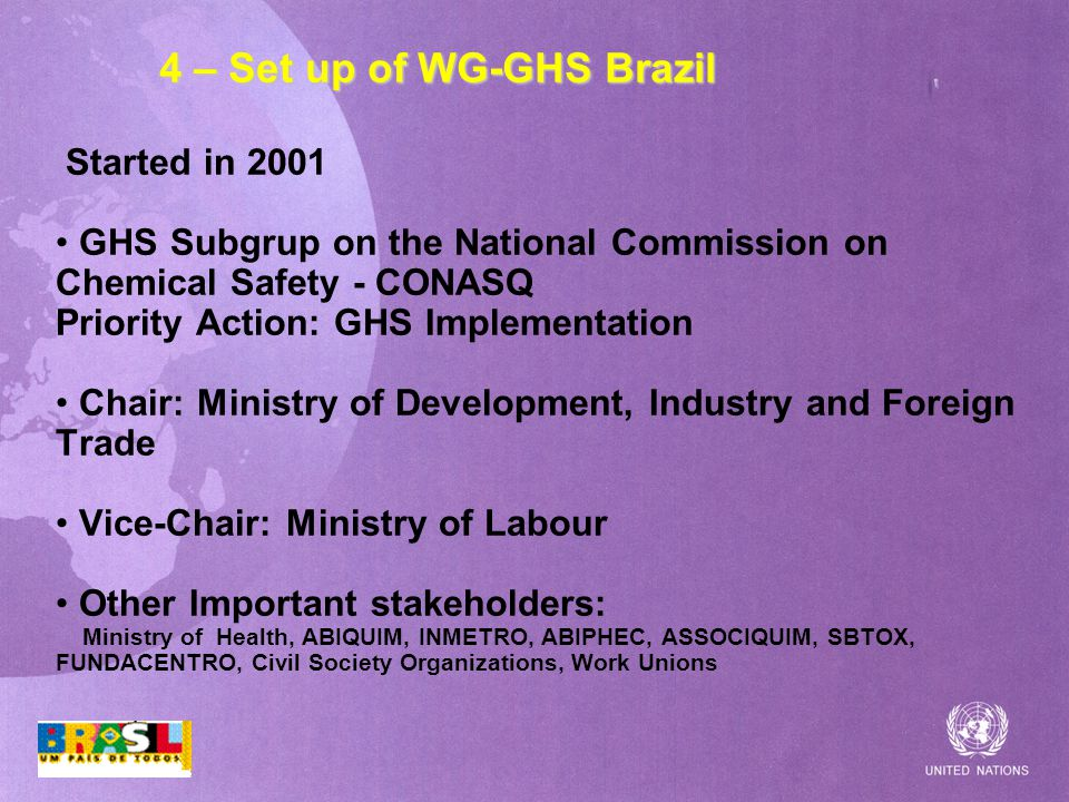 4 – Set up of WG-GHS Brazil Started in 2001 GHS Subgrup on the National Commission on Chemical Safety - CONASQ Priority Action: GHS Implementation Chair: Ministry of Development, Industry and Foreign Trade Vice-Chair: Ministry of Labour Other Important stakeholders: Ministry of Health, ABIQUIM, INMETRO, ABIPHEC, ASSOCIQUIM, SBTOX, FUNDACENTRO, Civil Society Organizations, Work Unions