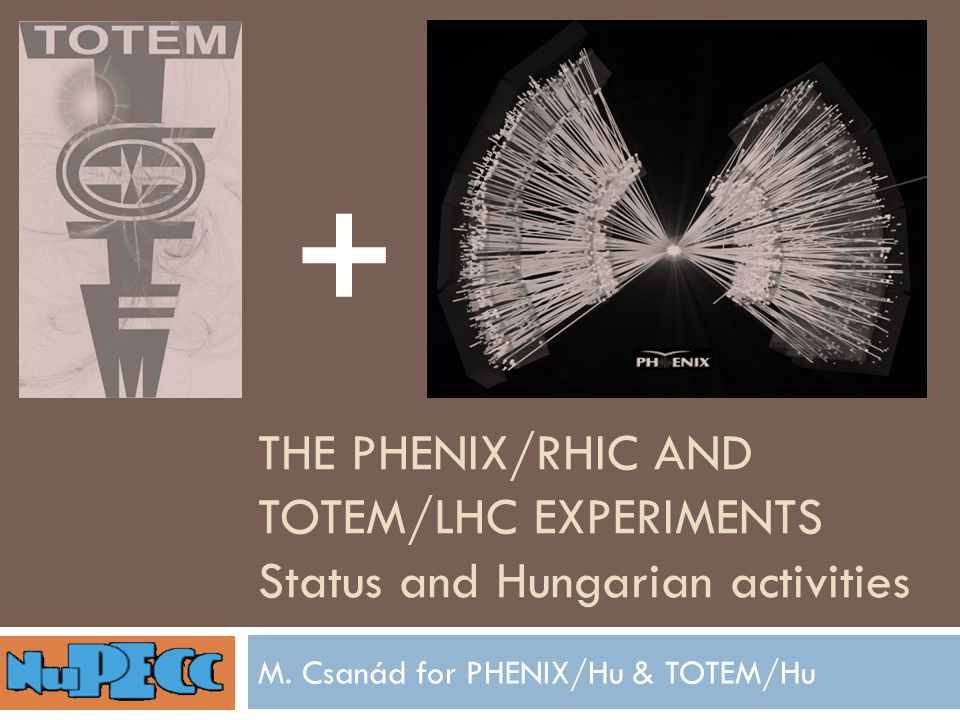 THE PHENIX/RHIC AND TOTEM/LHC EXPERIMENTS Status and Hungarian activities M.