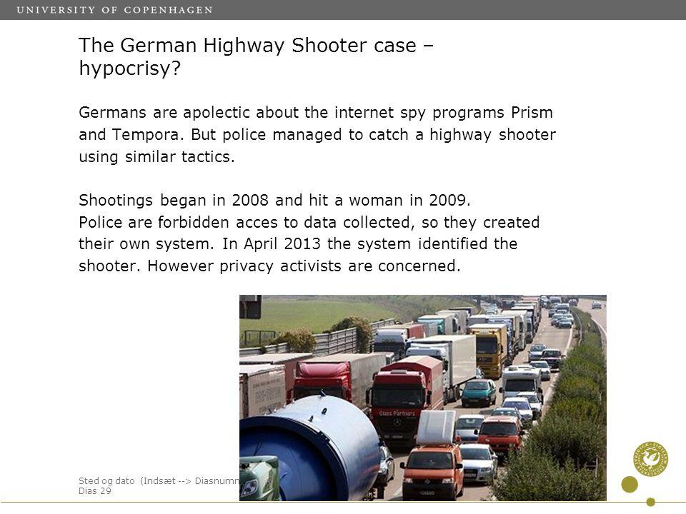 Sted og dato (Indsæt --> Diasnummer) Dias 29 The German Highway Shooter case – hypocrisy.