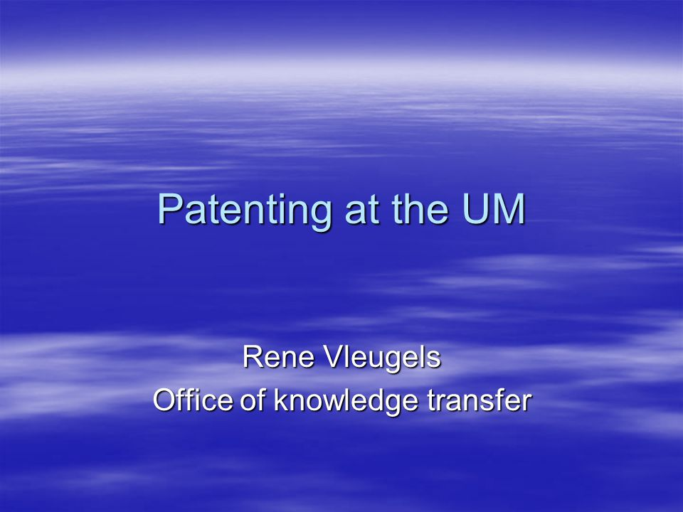 Patenting 1980-1999  No university policy  Decentral approach  Ownership for third parties  Royalty payments?