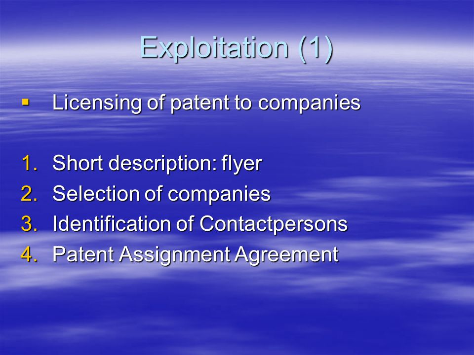 Exploitation (1)  Licensing of patent to companies 1.Short description: flyer 2.Selection of companies 3.Identification of Contactpersons 4.Patent Assignment Agreement