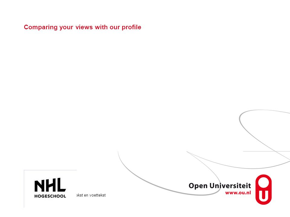 Onderwerp via >Beeld >Koptekst en voettekst Pagina 16 Comparing your views with our profile