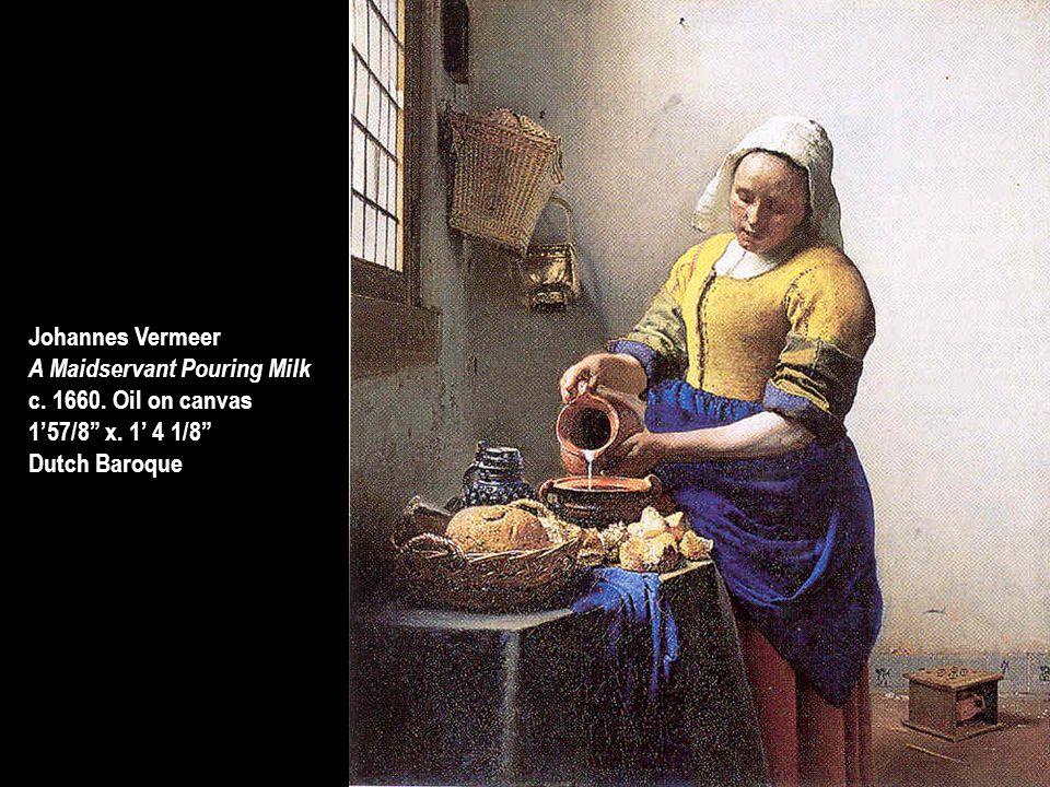 "Johannes Vermeer A Maidservant Pouring Milk c. 1660. Oil on canvas 1'57/8"" x. 1' 4 1/8"" Dutch Baroque"