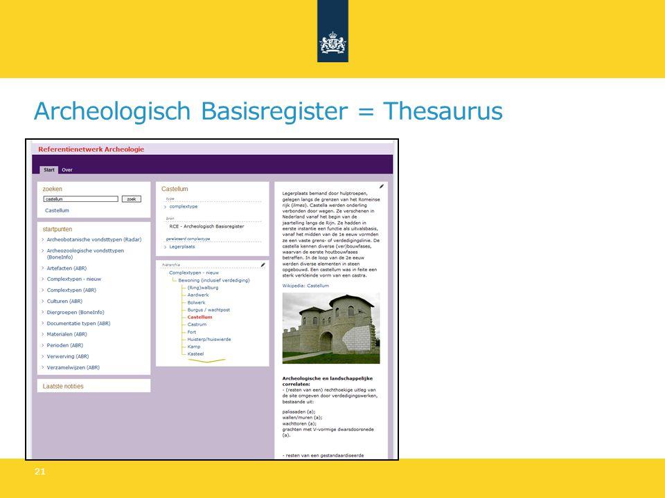 Archeologisch Basisregister = Thesaurus 21