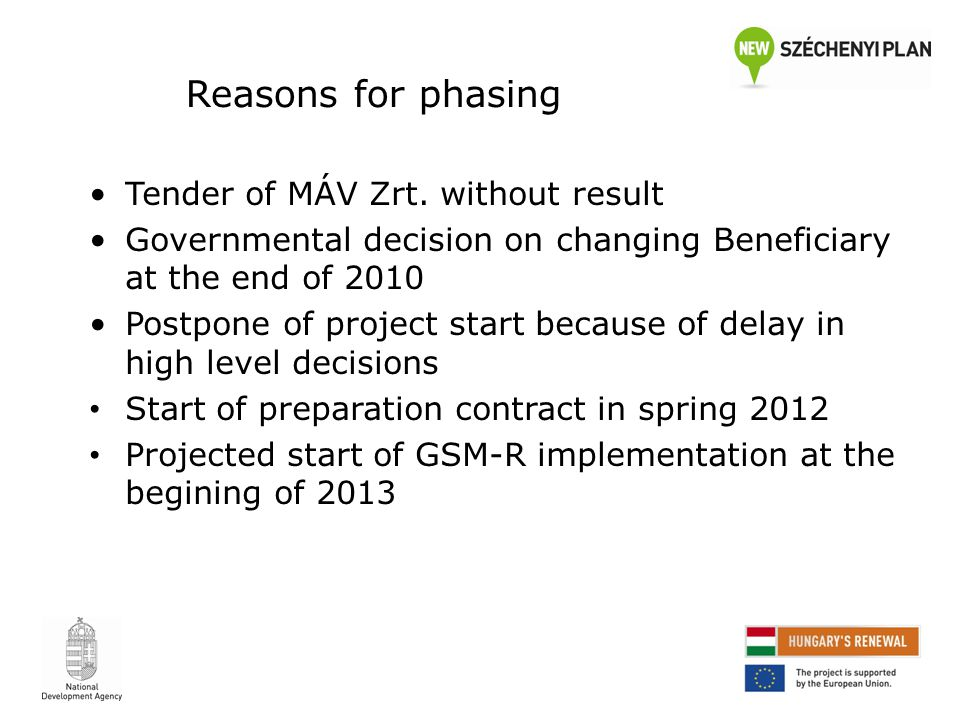Reasons for phasing Tender of MÁV Zrt.