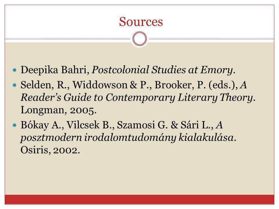 Sources Deepika Bahri, Postcolonial Studies at Emory. Selden, R., Widdowson & P., Brooker, P. (eds.), A Reader's Guide to Contemporary Literary Theory